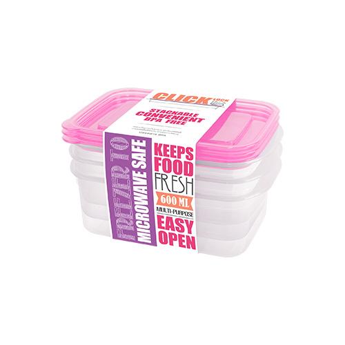 Bộ hộp đựng thực phẩm hình chữ nhật 600ml JCJ 31325