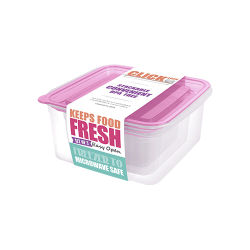 Bộ hộp đựng thực phẩm hình chữ nhật 300ml + 650ml + 1100ml JCJ 31328