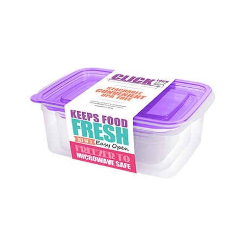Bộ hộp đựng thực phẩm hình chữ nhật 300ml + 600ml + 1050ml  JCJ 31329