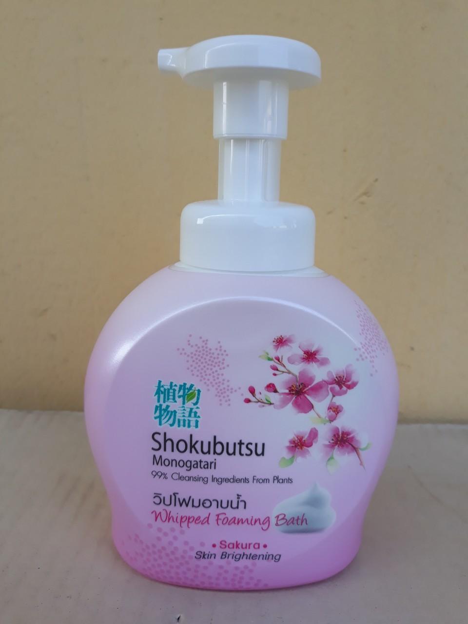 Sữa tắm tạo bọt Shokubutsu Monogatari 450ml (Sakura - hồng)