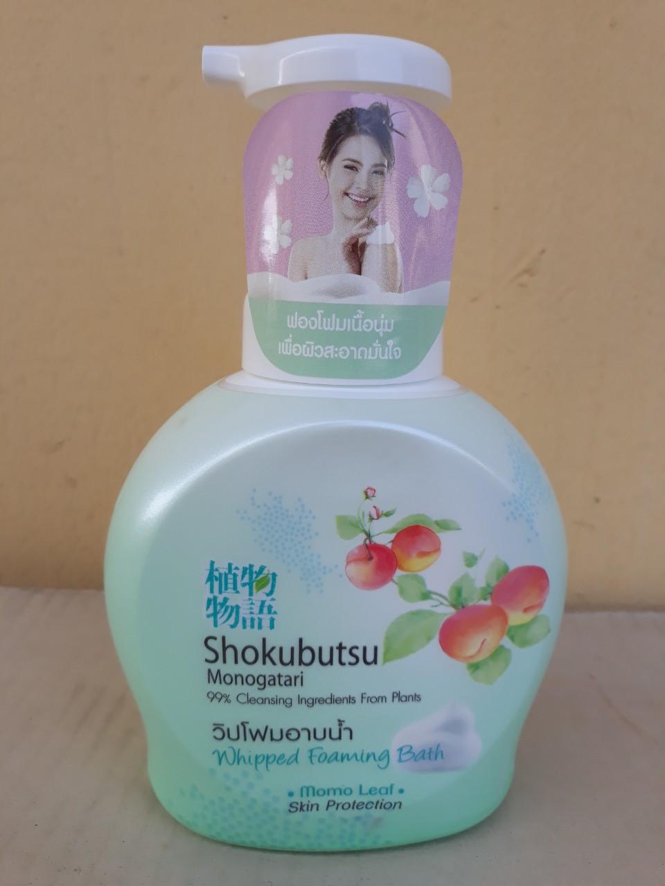 Sữa tắm tạo bọt Shokubutsu Monogatari 450ml (Momo leaf - xanh)